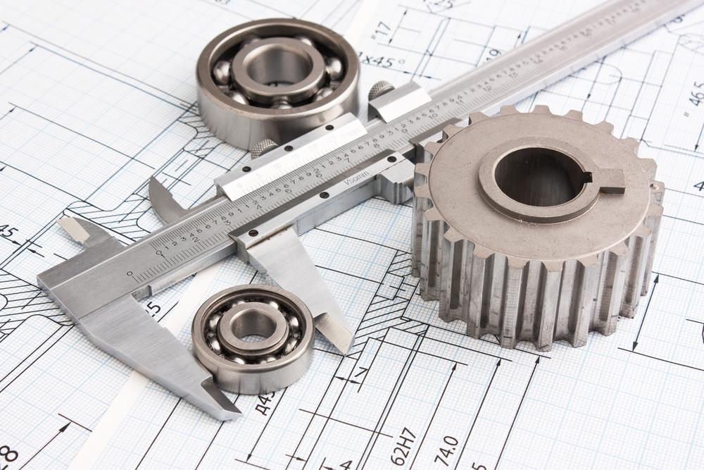 Konstruktionszeichnung mit Werkzeug